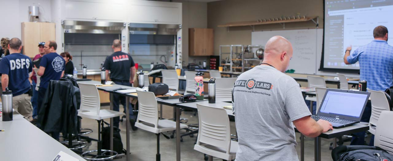Students work in new fire safety facility
