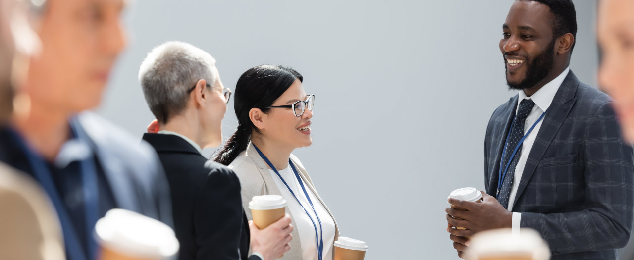 Business professionals networking at an event