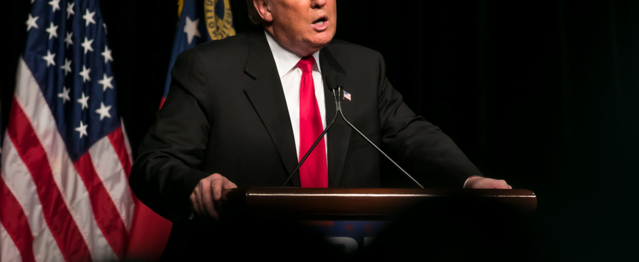 President Trump speaking at a rally