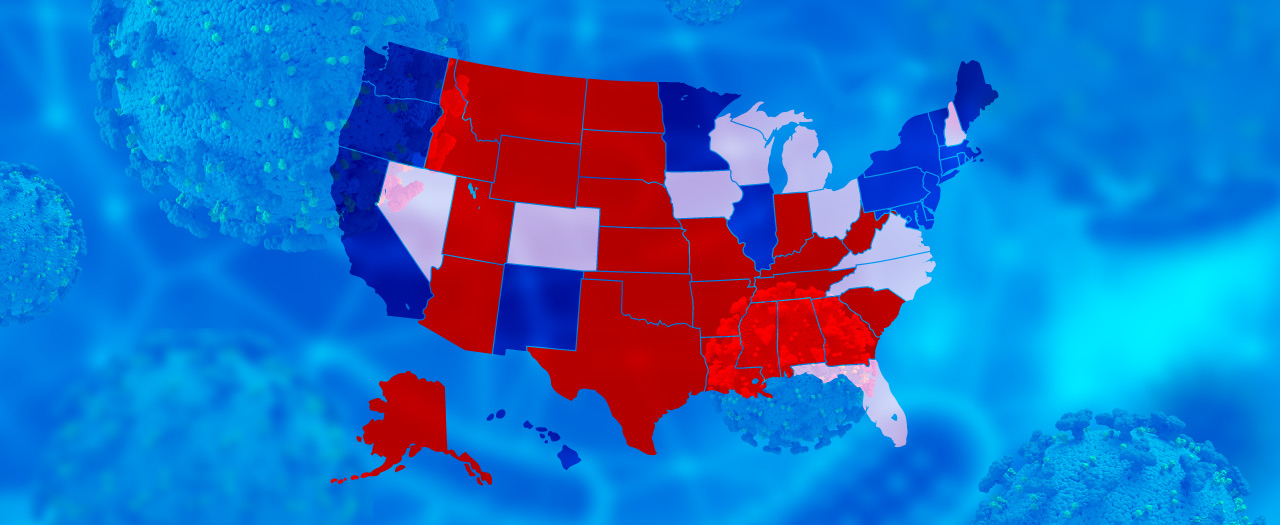 United states political map surrounded by coronavirus